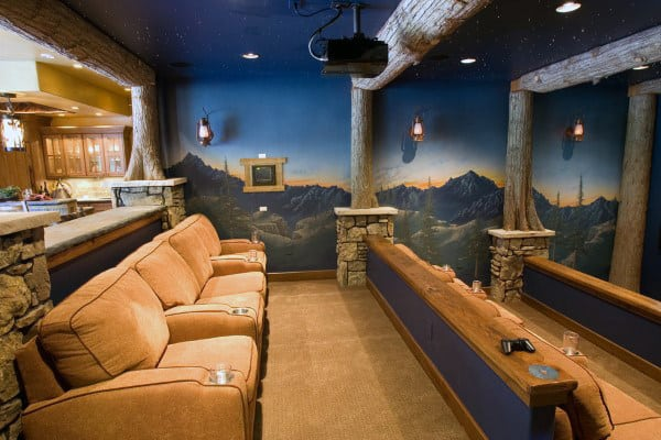 Rustic Country Themed Home Theater With Nature Scenery On Walls