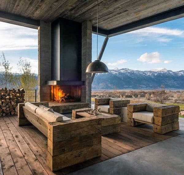 Rustic County Outdoor Fireplace Design In Home