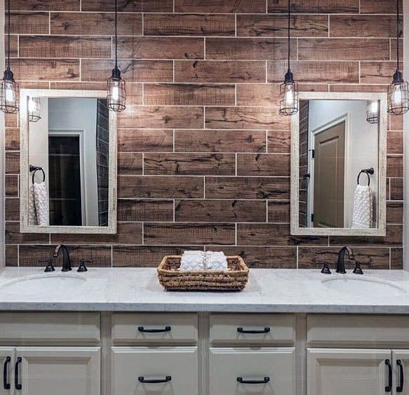Wood Tile Kitchen Backsplash: Top 70 Best Bathroom Backsplash Ideas
