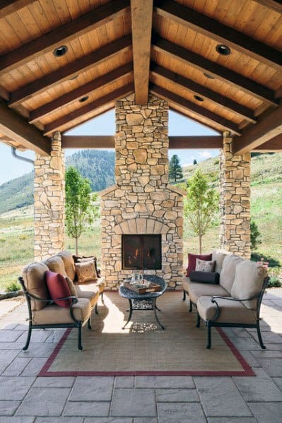 Exceptionnel Rustic Covered Patio Fireplace Ideas Inspiration