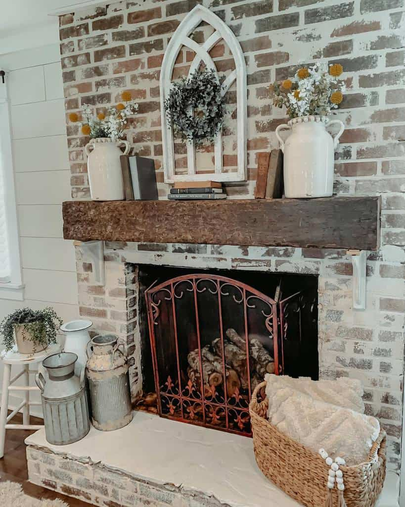rustic fireplace wall ideas farmhouse905