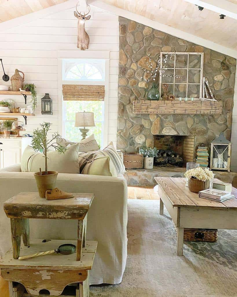 rustic fireplace wall ideas vintagewhisperer