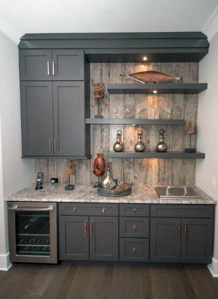 Rustic Grey Cabinets Unique Mini Bar Ideas