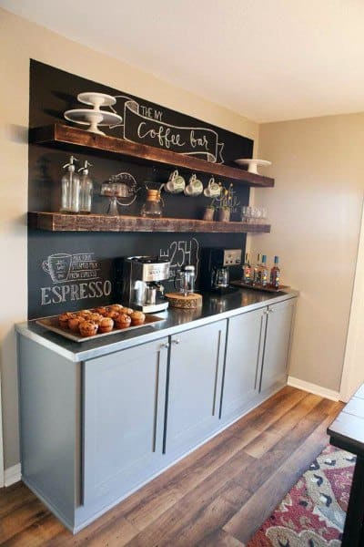Rustic Grey Cabinets With Chalkboard Wall Coffee Bar Ideas