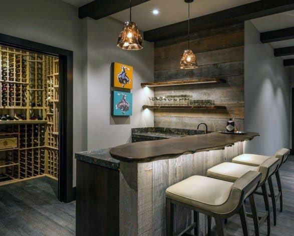 Rustic Home Bar Wood Wall Ideas