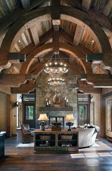 Rustic Home Interior Living Room Giant Chandelies Lighting