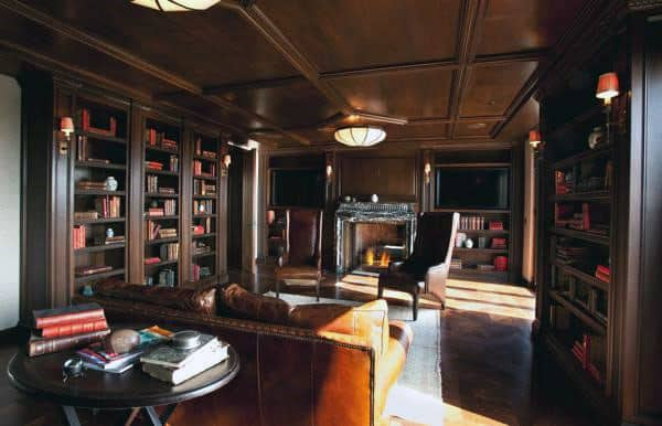 Rustic Home Library Design Ideas For Guys