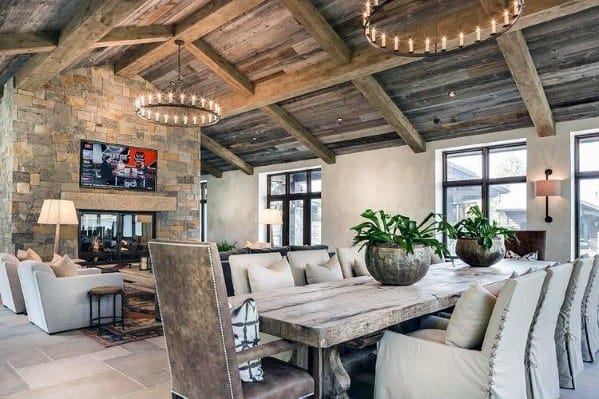 Rustic Home With Wood Ceiling And Stone Fireplace
