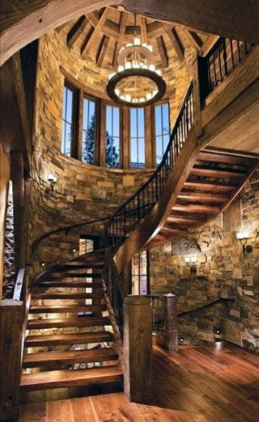 Rustic Home Wood Stairs Ideas