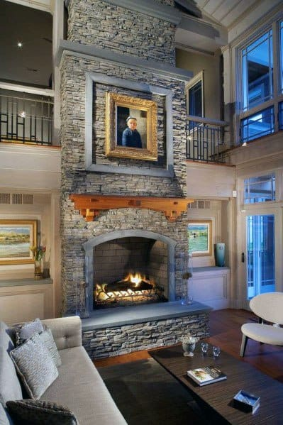 Rustic Ideas For Stacked Stone Fireplace Interior