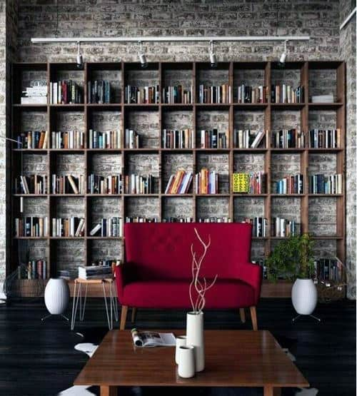 Rustic Industrial Home Library Designs