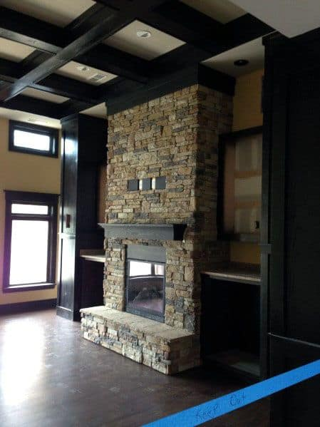 Rustic Interior Ideas Stacked Stone Fireplace