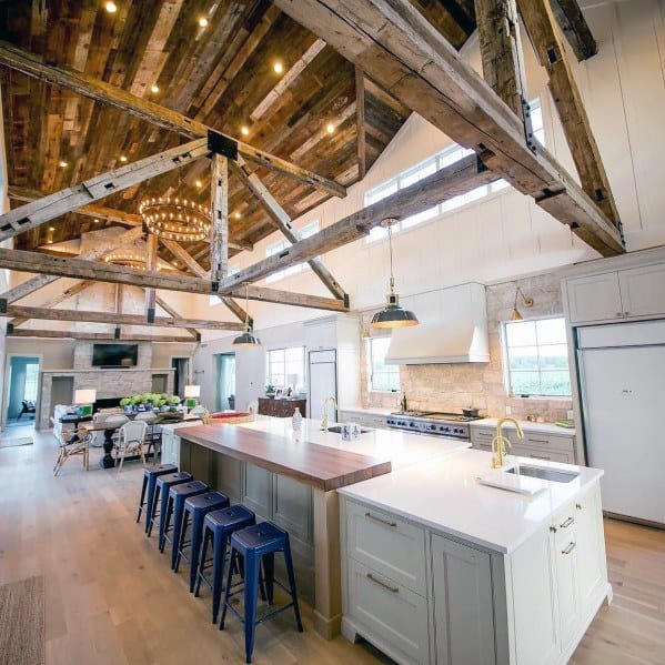 Rustic Kitchen Barn Wood Ceiling Interior Ideas