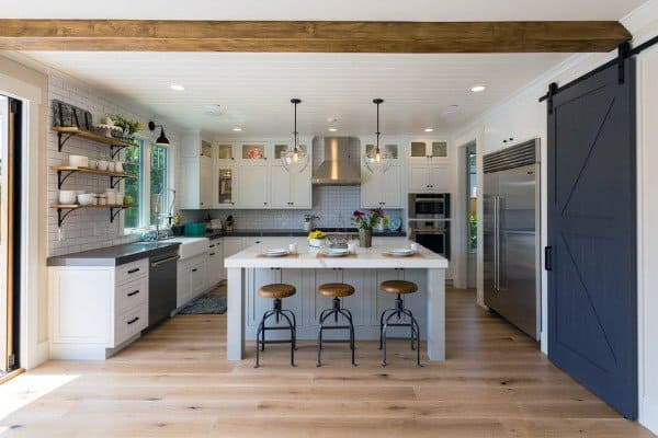 Rustic Kitchens With Island And Painted Sliding Barn Door
