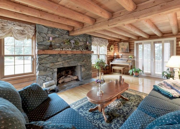 Rustic Living Room Beam Ceiling