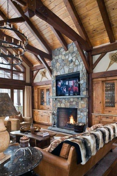 Rustic Log Cabin Interiors Great Room Ideas