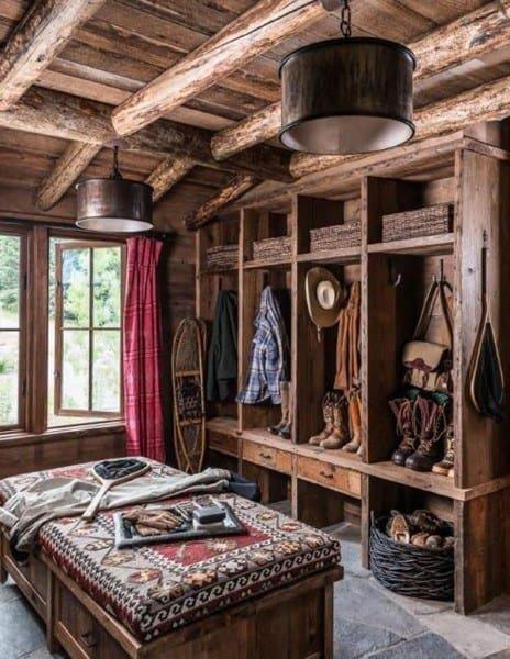 Rustic Log Cabin Mudroom Locker Ideas