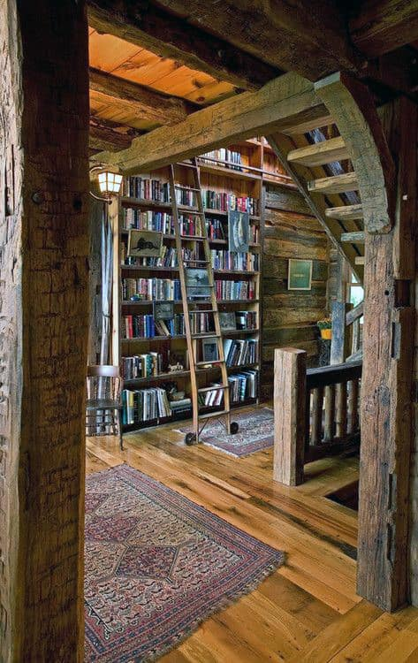 Rustic Log Cabin Private Home Library Designs