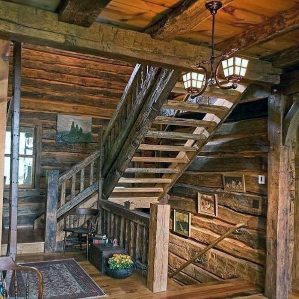 Rustic Log Cabin Vintage Look Ideas For Wood Stairs