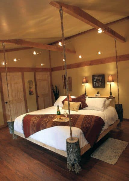 Rustic Log Hanging Bed Ideas