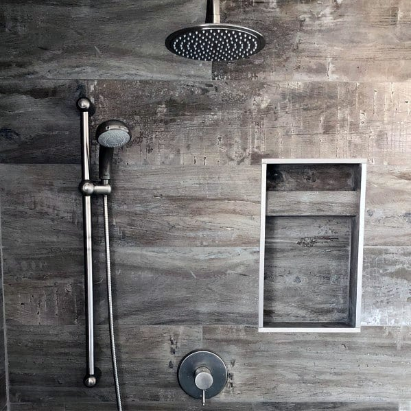 Rustic Look Recessed Shower Shelf Niche Ideas