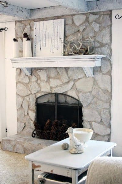 Rustic Look White Painted Stone Fireplace Ideas