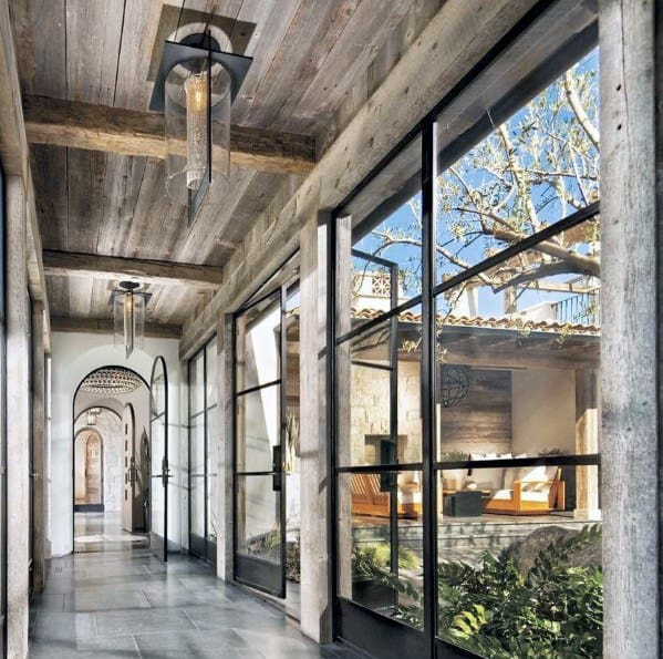 Rustic Metal And Glass Unique Hallway Lighting Designs With Wood Ceiling