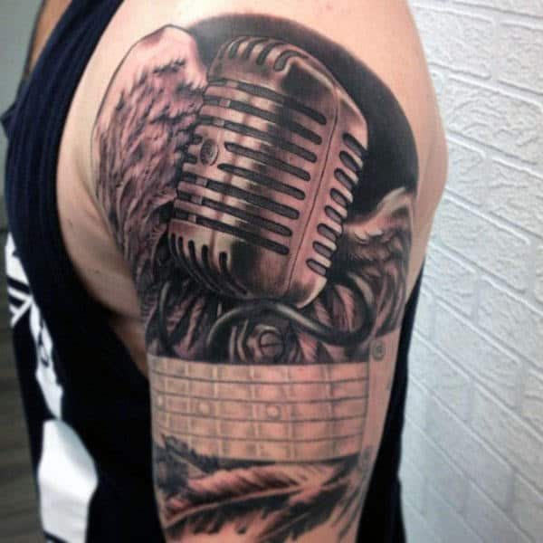 Rustic Microphone Tattoo Male Arms