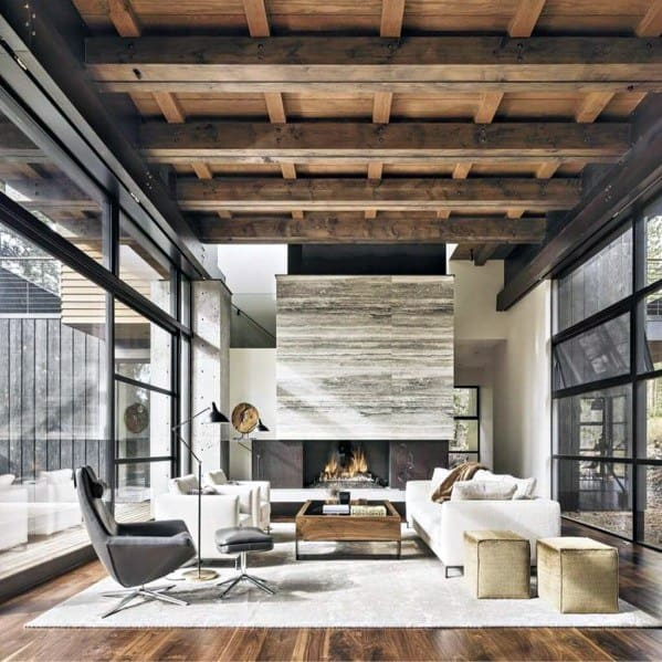 Rustic Modern Living Room With Salvaged Barn Wood Ceiling Ideas