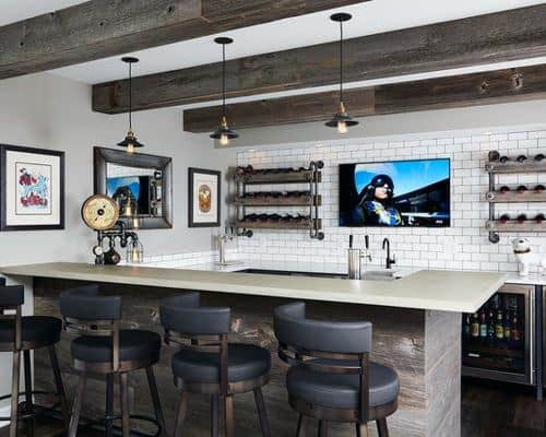 Rustic Movie Room Wet Bar Ideas