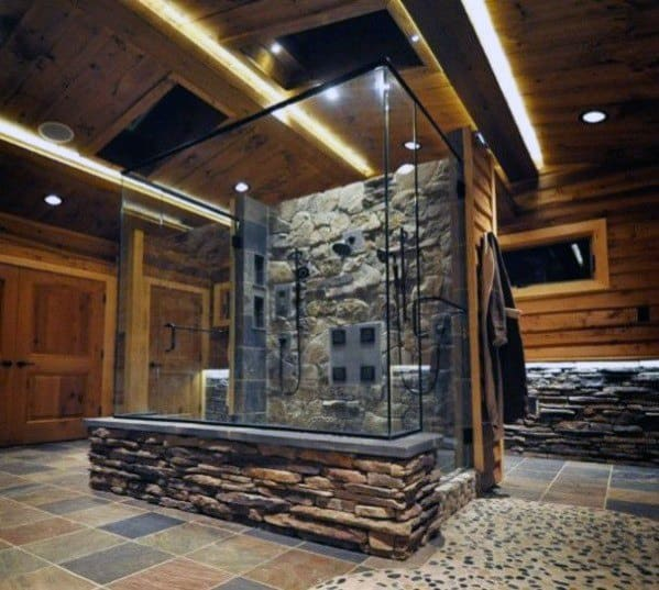 Rustic Natural Rock Stone Shower Master Bathroom Ideas