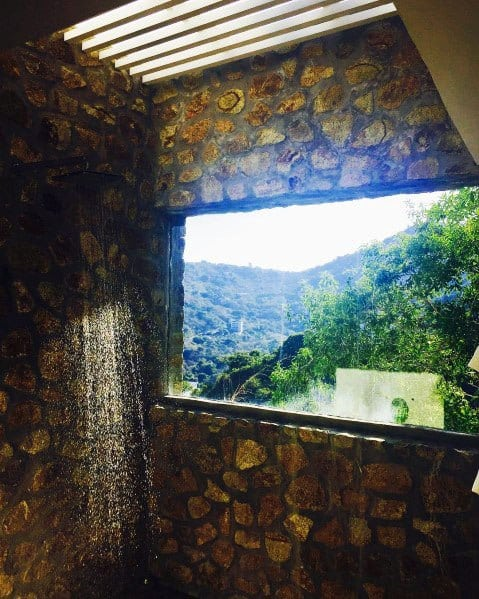 Rustic Natural Stone Rectangle Shower Window Ideas