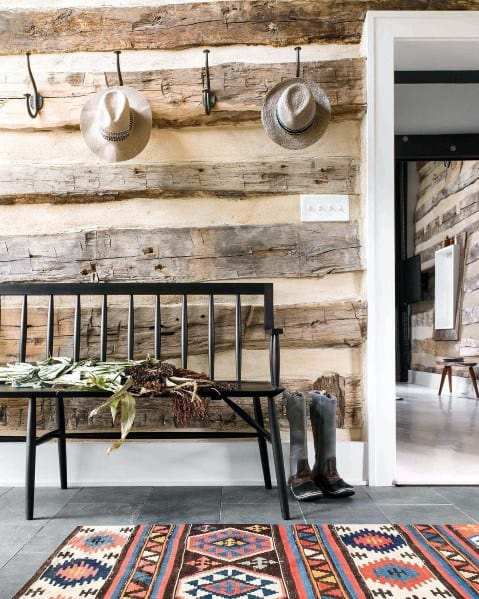 Rustic Old Barn Wood Foyer Wall Ideas