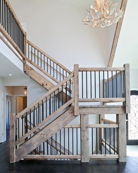 Rustic Salvaged Barn Wood Stairs Interior Design