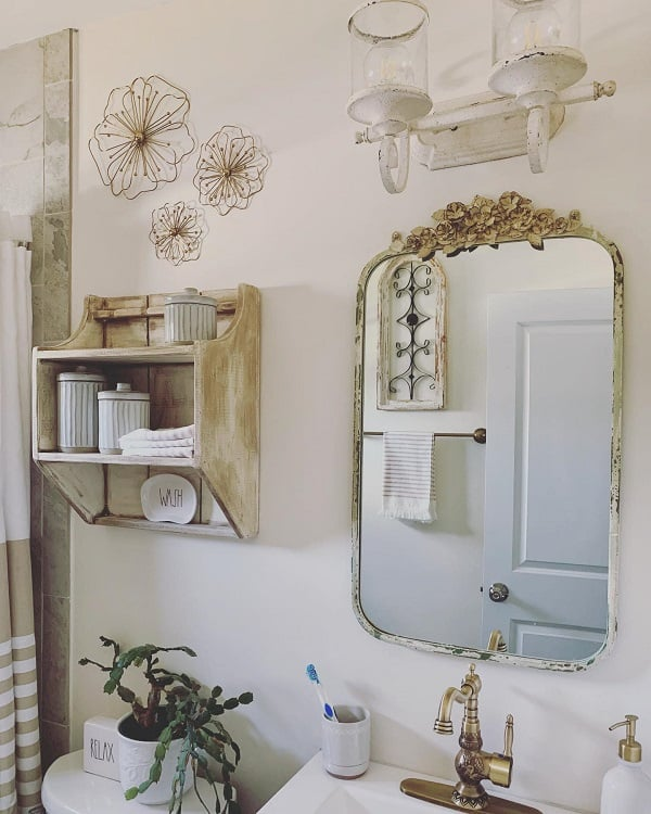Rustic Shabby Chic Farmhouse Bathroom Heatherjoandjojoproject
