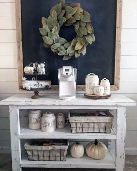 Rustic Simple Shiplap Walls Coffee Bar Ideas