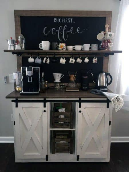 Rustic Sliding Barn Door White Cabinets Coffee Bar Ideas