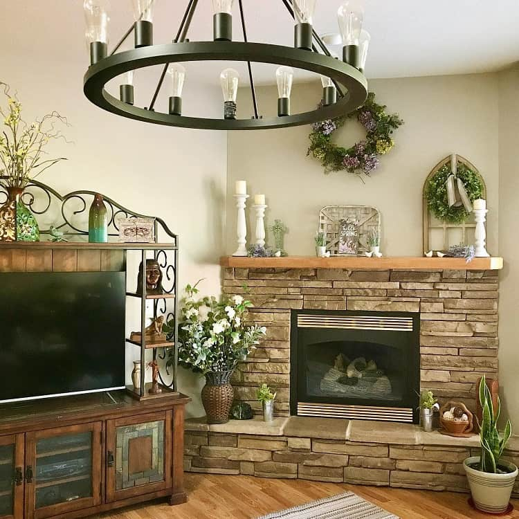 Rustic Stacked Stone Fireplace Surround My Country Townhouse