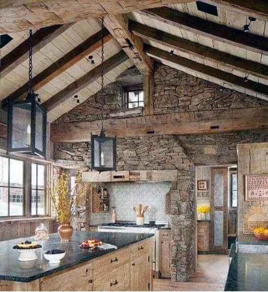 Rustic Stone Cabin Kitchen Hood Ideas