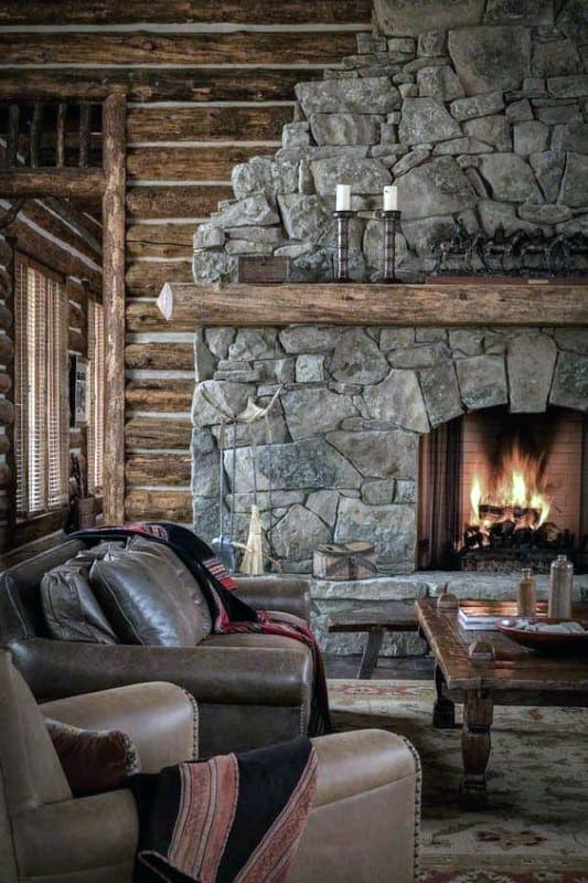 Rustic Stone Fireplace Design Inspiration