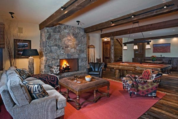Rustic Stone Fireplace Living Room Basement Ideas