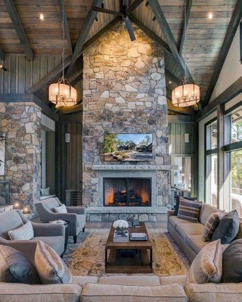 fireplace grey living room ideas