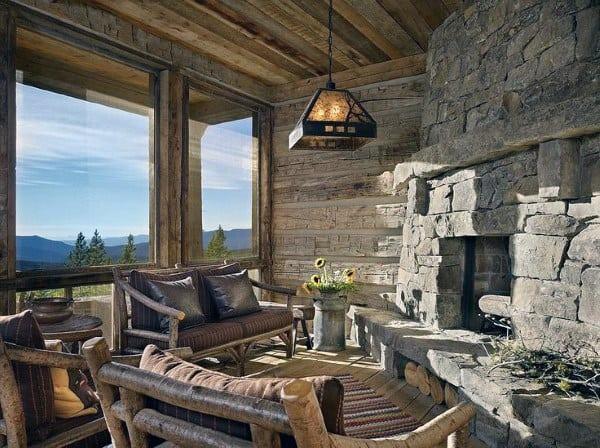 Rustic Stone Fireplace Sunroom Ideas