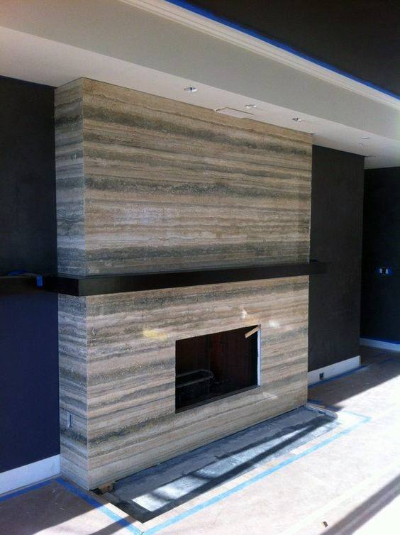 Rustic Stone Modern Fireplace Design Ideas