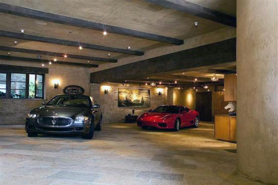 Rustic Tile Luxury Home Garage Flooring Ideas