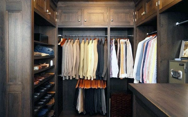 Rustic Traditional Dark Brown Wood Guys Closet
