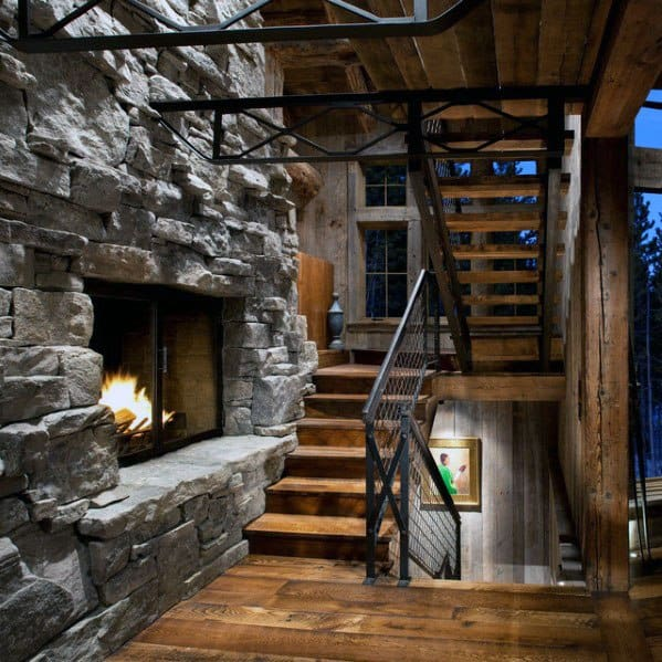 Rustic Unique Wood Stairs Home Ideas