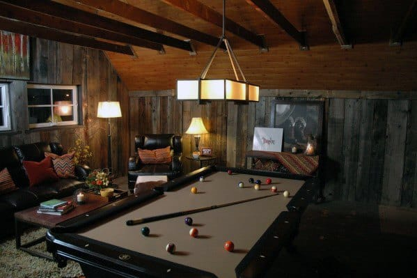 Rustic Vintage Basement Man Cave Pool Table Room