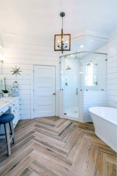 Rustic White Corner Shower Ideas With Herringbone Hardwood Floors