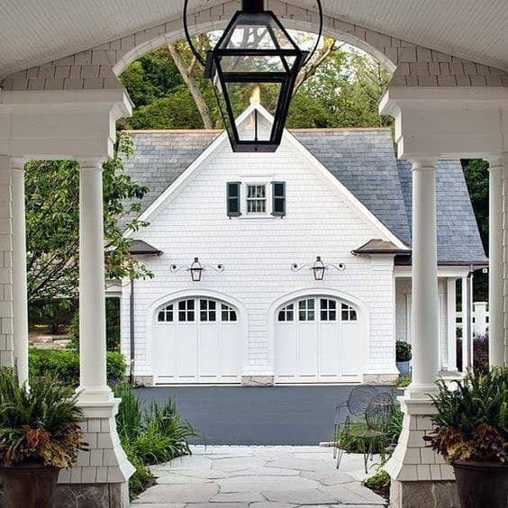 Rustic White Painted Detached Garage Ideas